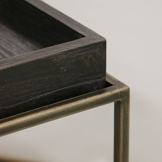 Le Marais Occasional Table with Oak Tray Top and Black Metal Legs
