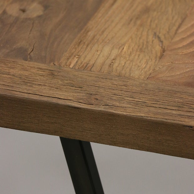 Cairo Old Elm Console with Black Metal Legs