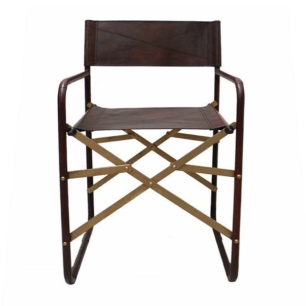 FOLDING LEATHER DIRECTORS CHAIR