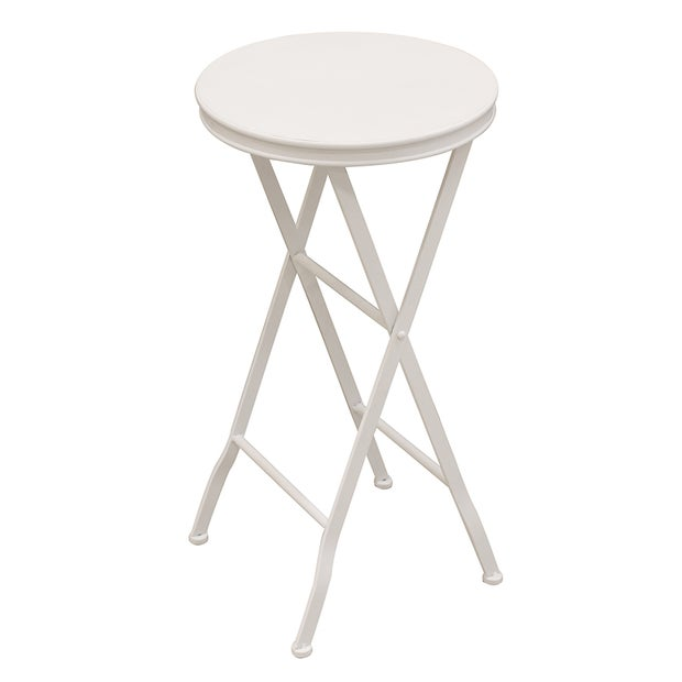 Parisian Style Folding Occasional Table White Metal