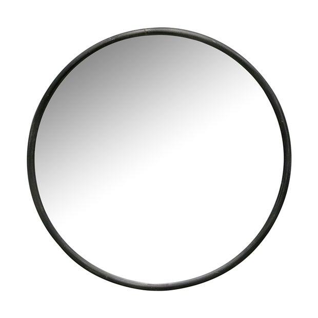 Gunmetal Iron Framed Round Mirror