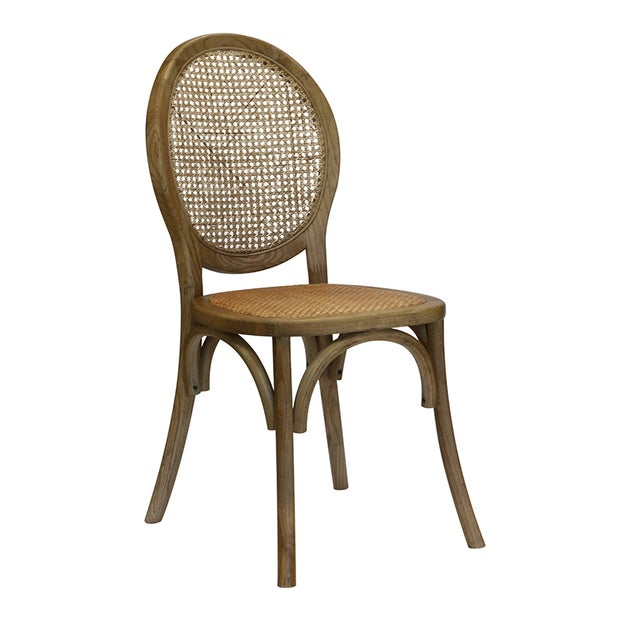 Clichy Elm Balloon Back Chair in Cane & Ash Walnut